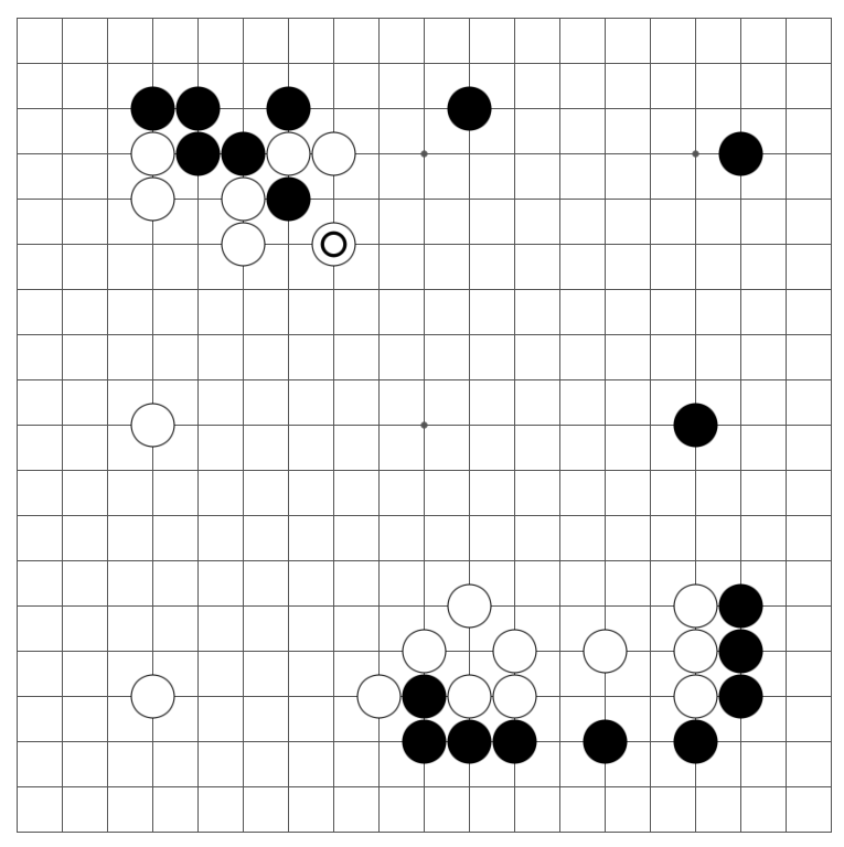 A game of baduk in the early middle-game