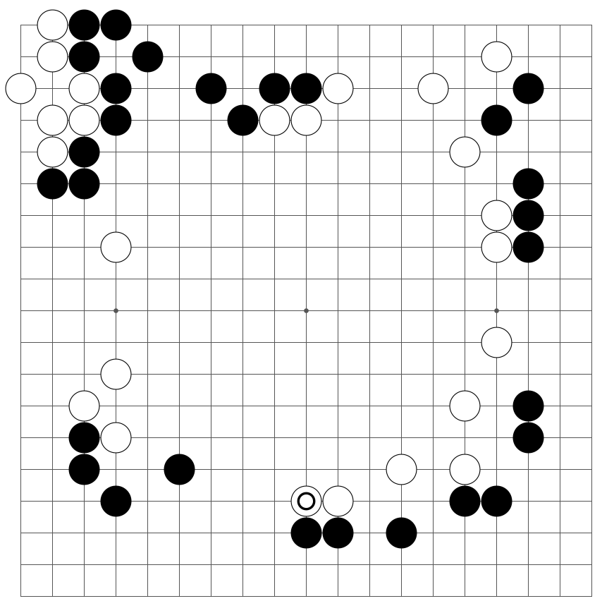 A game of baduk in the middle-game