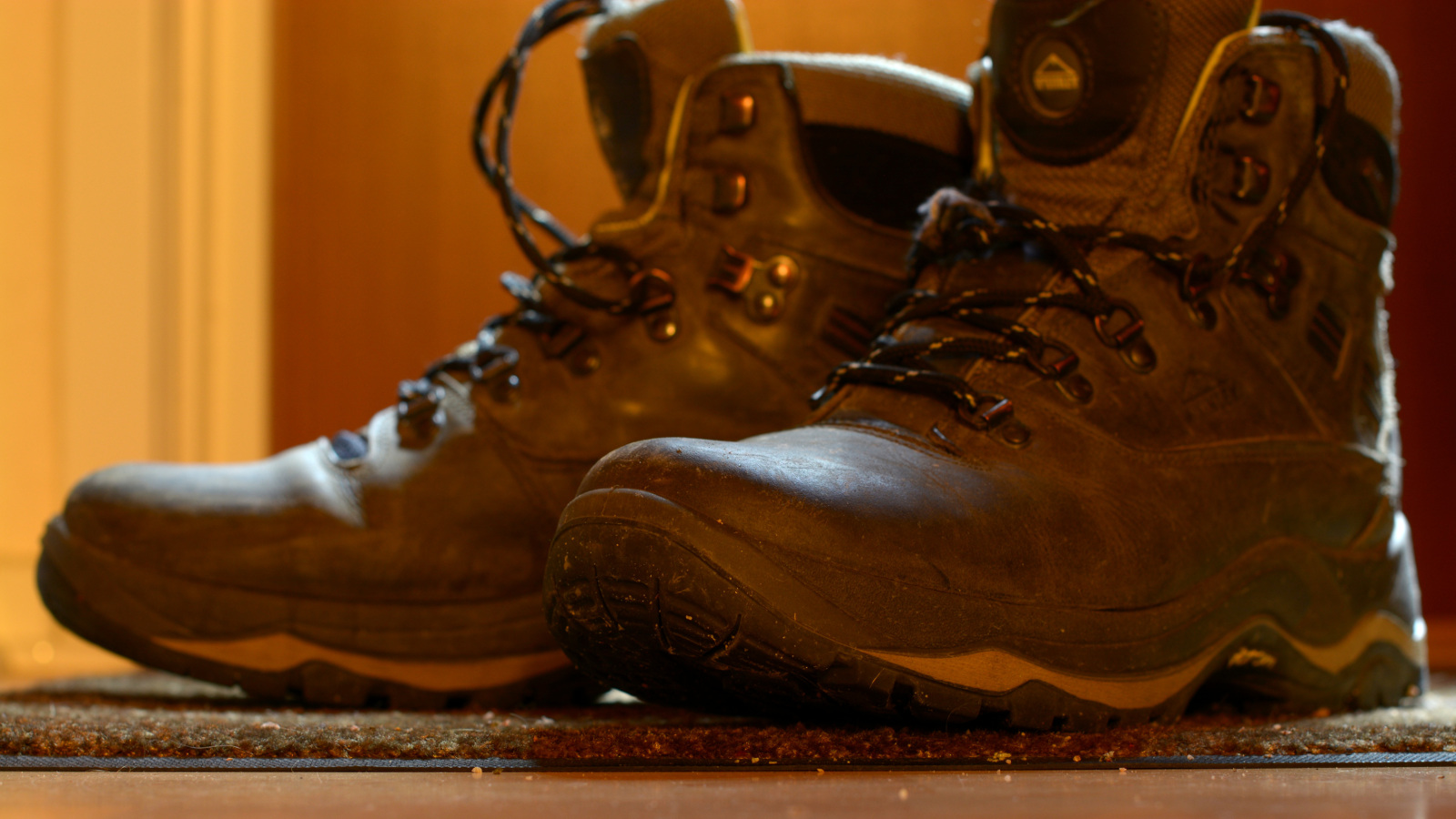 My boots, backlit with a flashlight