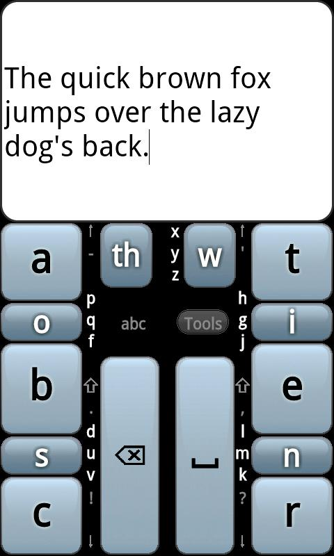 Screenshot of the GKOS keyboard